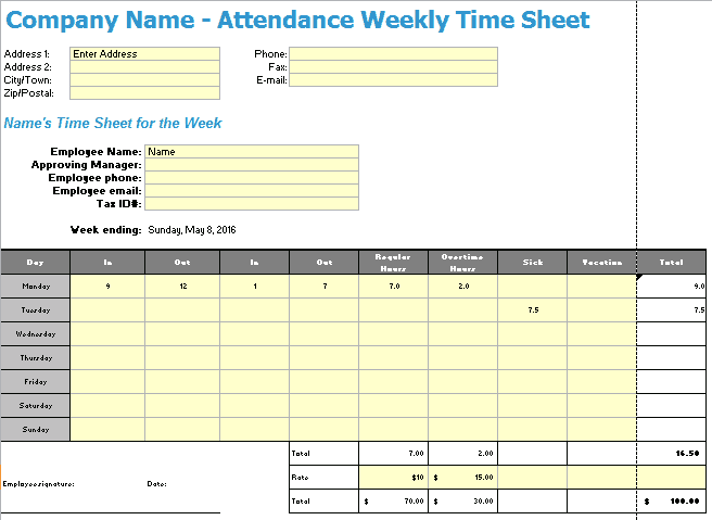 time sheet template 241
