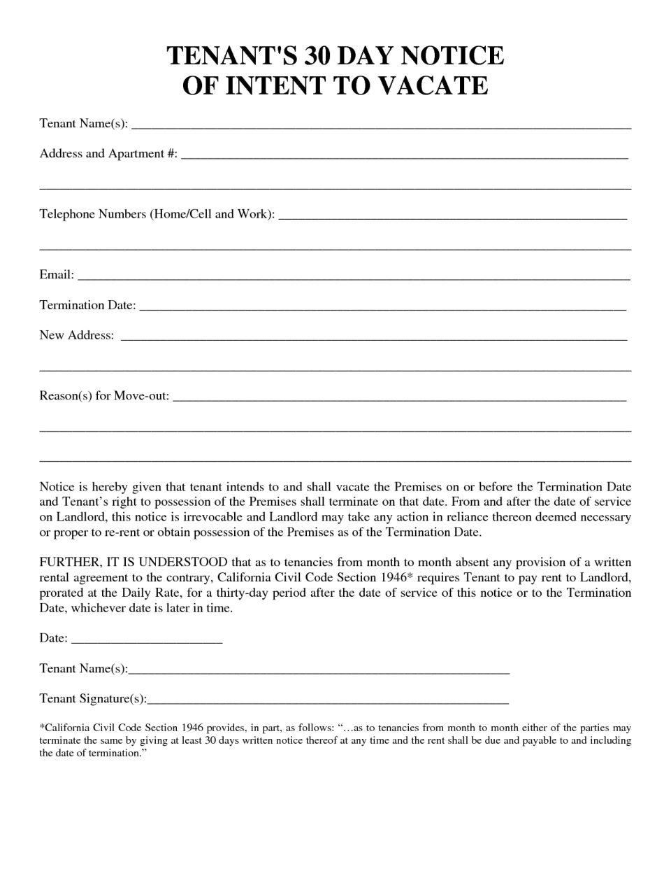 30 day notice to vacate apartment template sample 90 day 30 day notice to vacate templates forms thecheapjerseys Gallery