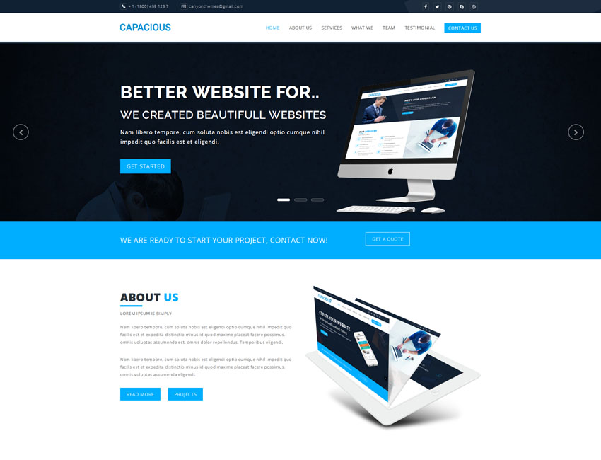 Capacious Responsive Landing Page Template Best Premium And Free - Wordpress landing page template