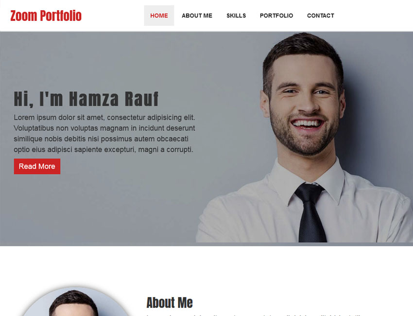 zoom portfolio html one page template best premium and free