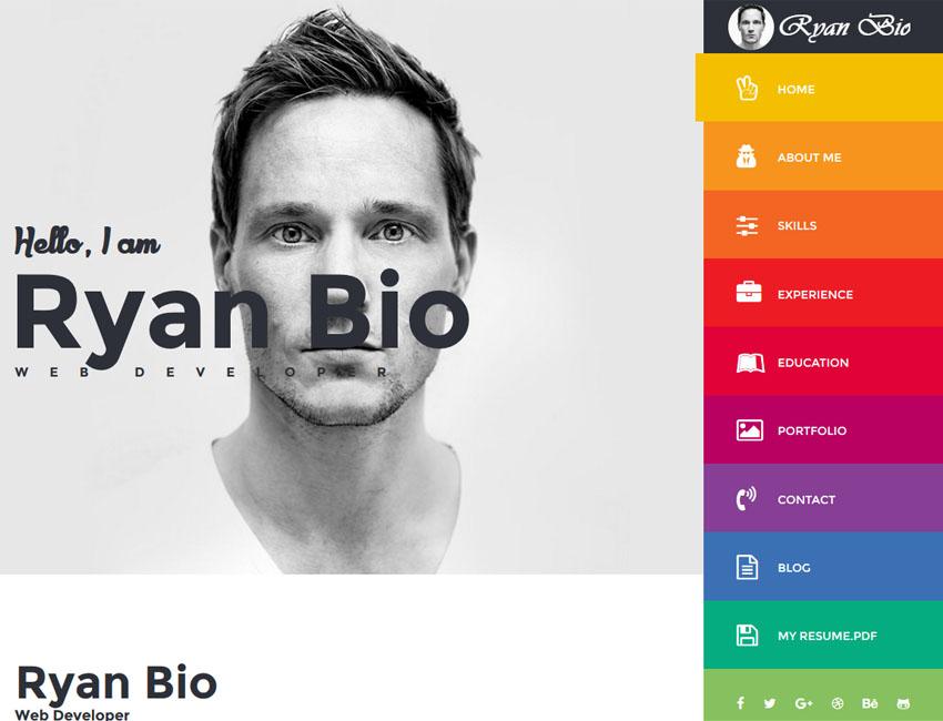 Resume Themes | Bio Portfolio Resume Template Best Premium And Free Responsive