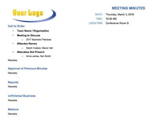 meeting minutes template 164