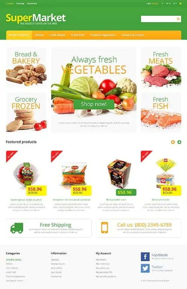 Online Grocery Shopping Website Templates 246