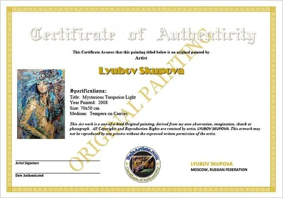 Certificate Of Authenticity Art Template Acurnamedia
