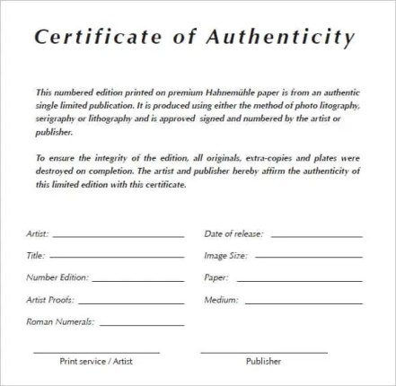 Blank Certificate Of Authenticity Template Archives  Templates Front
