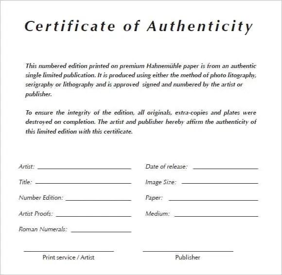 6+ Certificate Of Authenticity Templates   Website, Wordpress, Blog