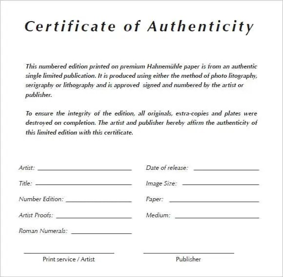certificate of authenticity 5641