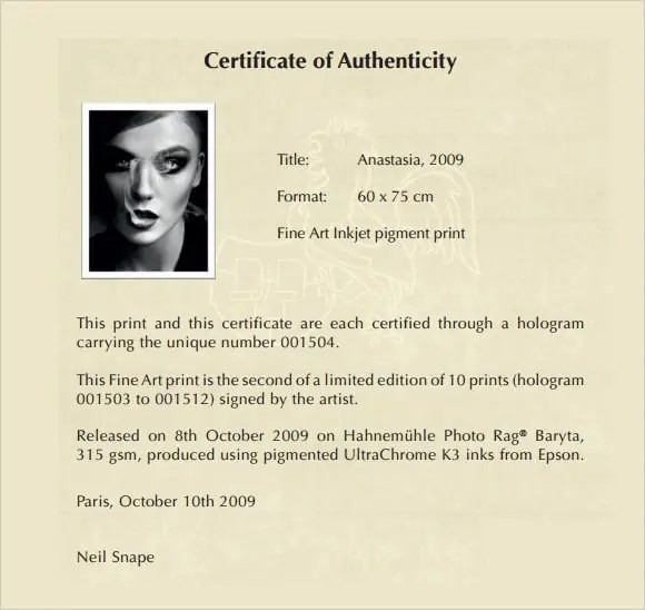 certificate of authenticity 641