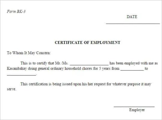 certificate of employment 146