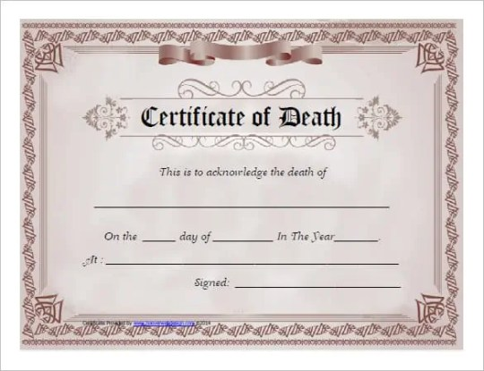 7 free death certificate templates