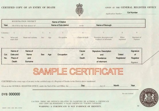 death certificaet template 641