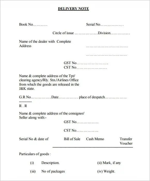 Delivery Note Template 6641  Dispatch Note Template