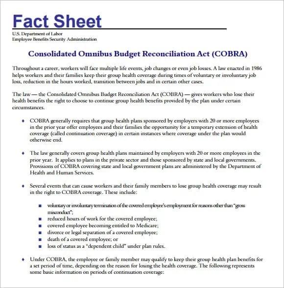 Fact Sheet Template 36 ...