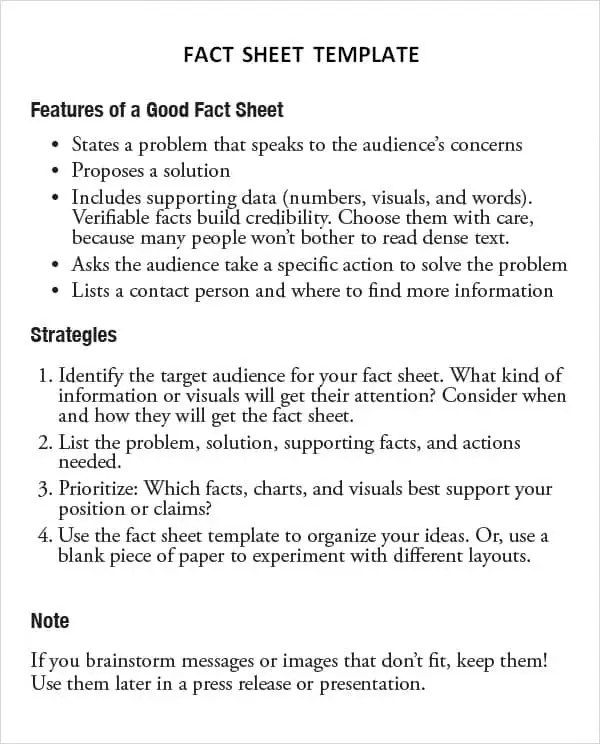 fact sheet template 464