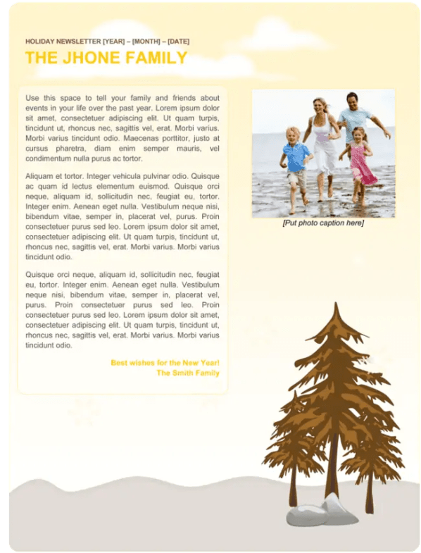 family newsletter template 254