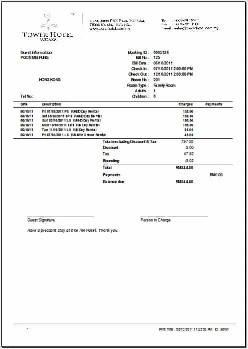 hotel bill format in word 561