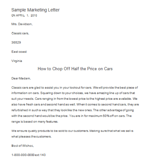 marketing letter sample 264