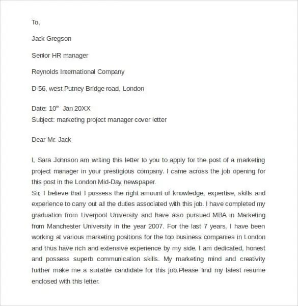 marketing letter sample 41