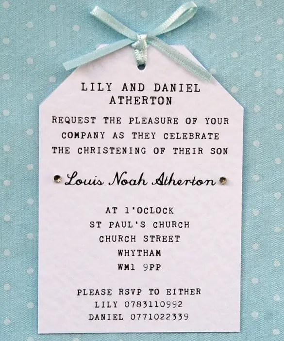 naming ceremony invitation 1654