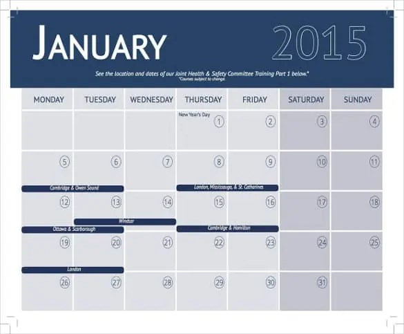 6 training calendar templates website wordpress blog for Training calendars templates
