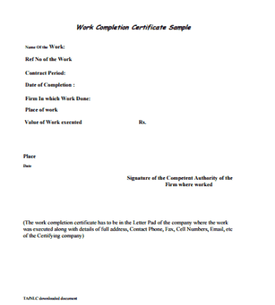 Construction work completion certificate template archives tag construction work completion certificate template yadclub Choice Image