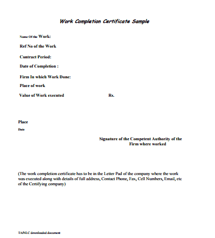 Work Completion Certificate Formats In Word  Completion Certificate Format
