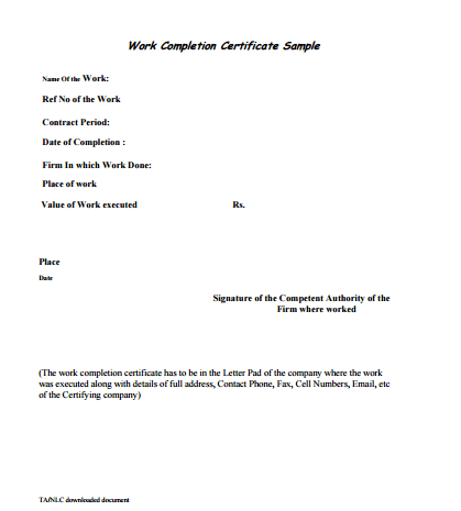 Work Completion Certificate Format 880  Certificate Format In Word