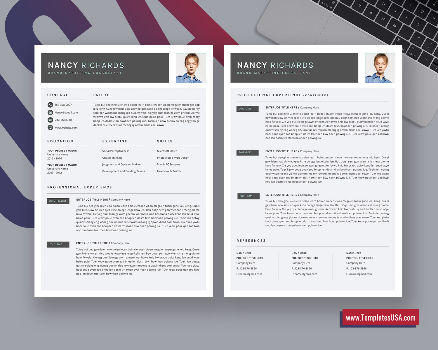 Build resume now boost existing resume. Modern Resume Template For Ms Word Creative Cv Template Professional Resume Format Unique Resume Editable Resume Design 1 3 Page Resume Template For Job Application Instant Download Templatesusa Com
