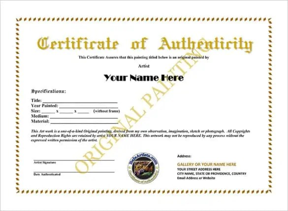 Certificate of authenticity templates word excel samples yadclub Images