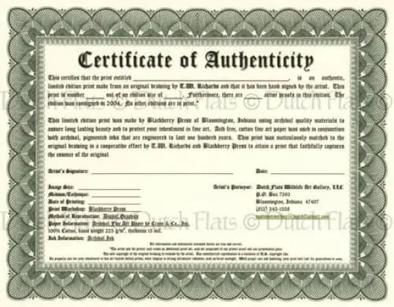 Certificate of authenticity templates word excel samples for Limited edition print certificate of authenticity template