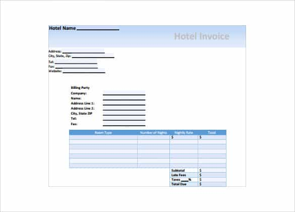 Hotel Receipt Templates - Word Excel Samples