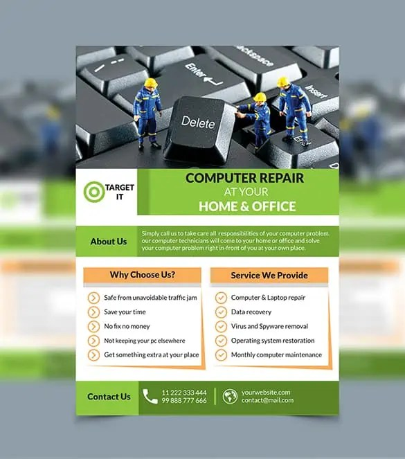 Computer Repair Flyers - Word Excel Samples