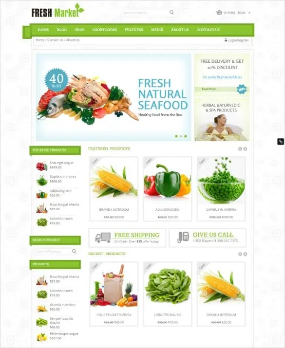grocery shopping website templates