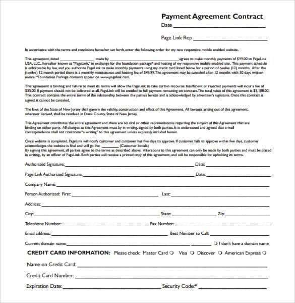 Payment Plan Agreement Templates - Word Excel Samples