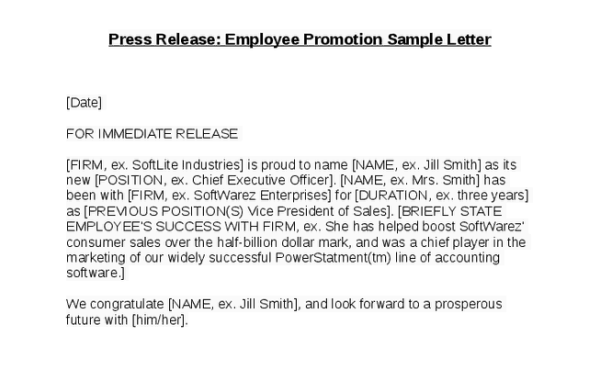 Sample Employee Promotion Letters