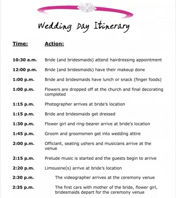 Event schedule templates word excel samples for Wedding day schedule of events template