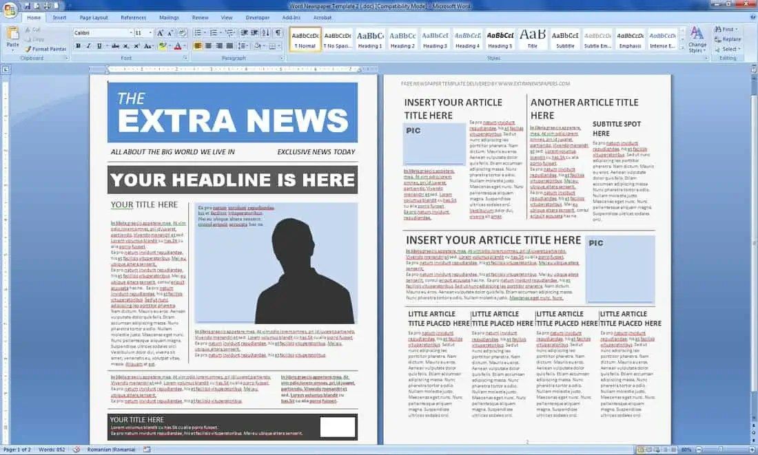 newspaper article template for word