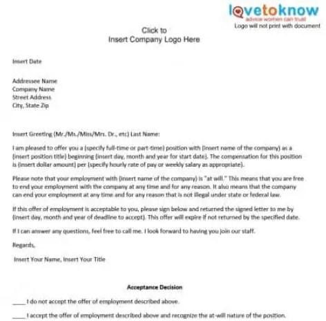 Offer Letter Format It Company. offer letter format 222 Offer Letter Formats  Word Excel Samples