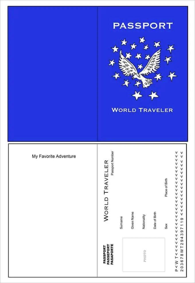 Passport templates word excel samples for Printable passport template for kids