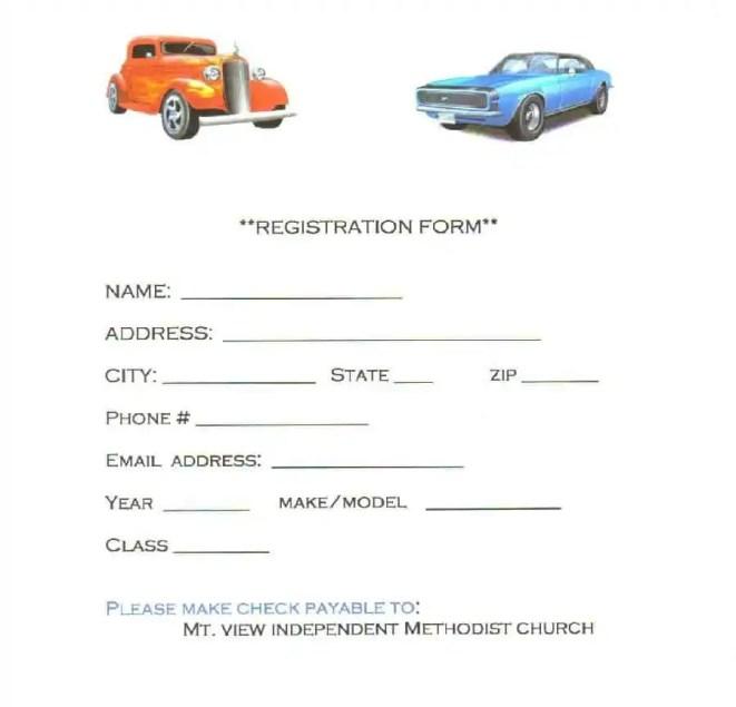 Car Show Entry Form Sample