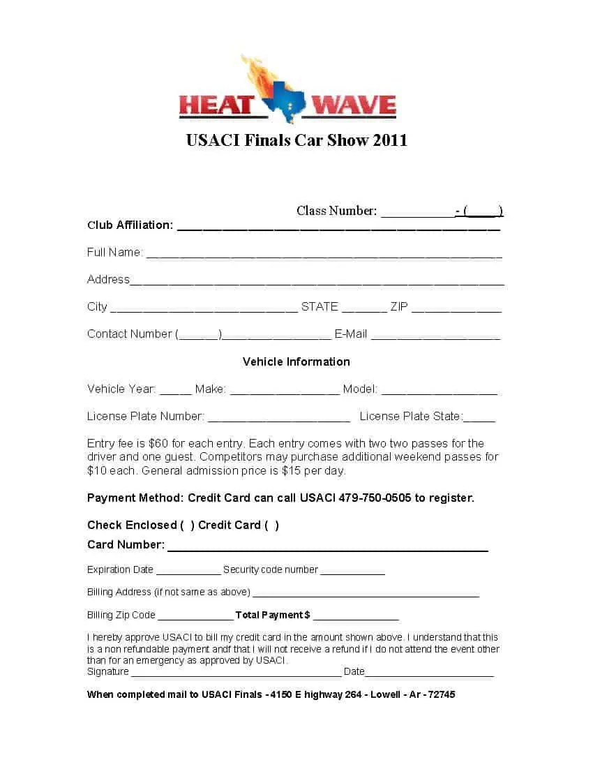 Car Show Registration Form Templates - Word Excel Samples