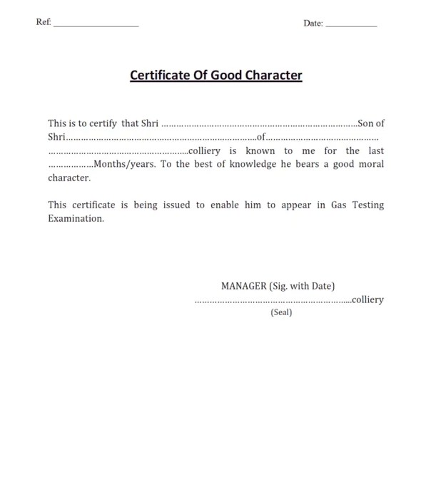 Character Certificate Template 30