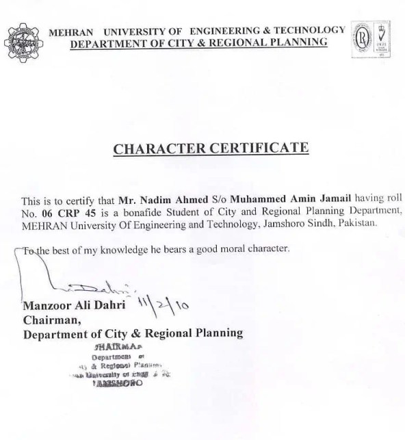 character certificate for students pdf