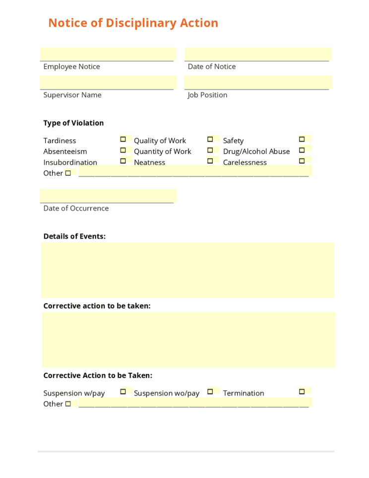 Employee Write Up Form Templates - Word Excel Samples