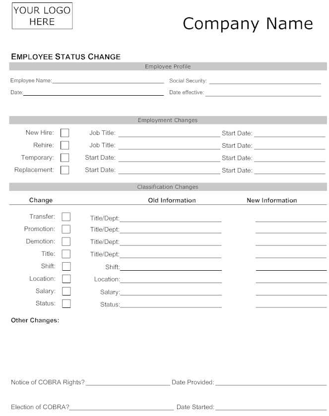 Employee Status Change Forms - Word Excel Samples