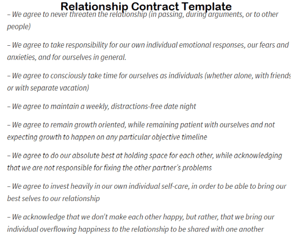 Relationship Contract Templates Word Excel Samples