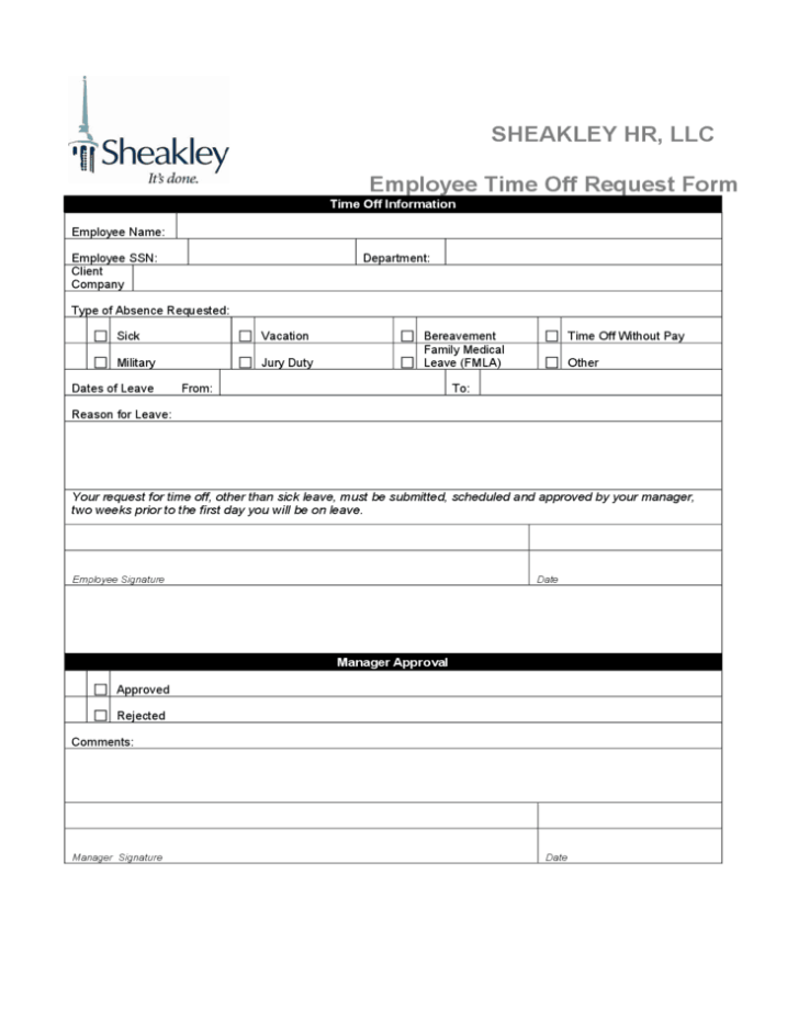 Time Off Request Form 60