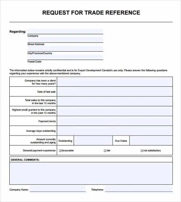 Trade Reference Templates Word Excel Samples – Reference Templates