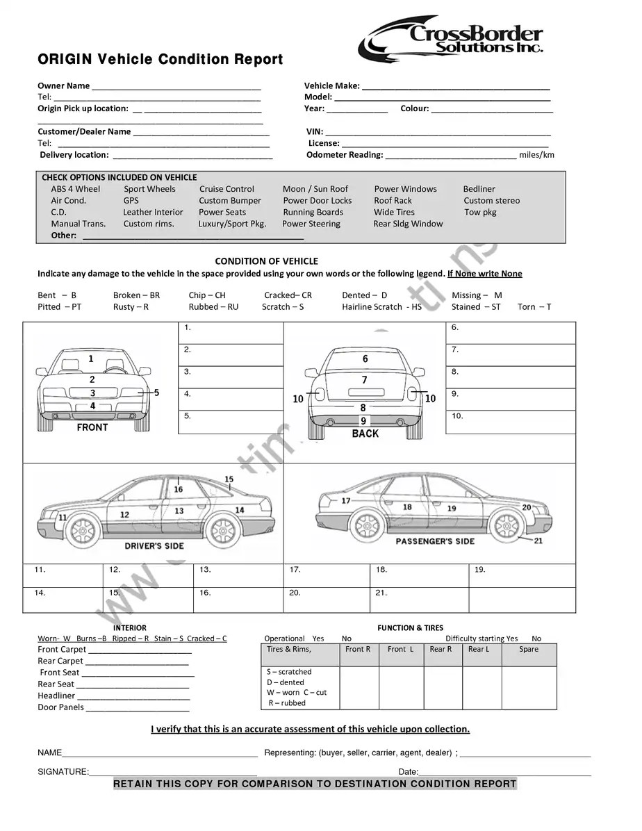 Vehicle Condition Report Templates - Word Excel Samples
