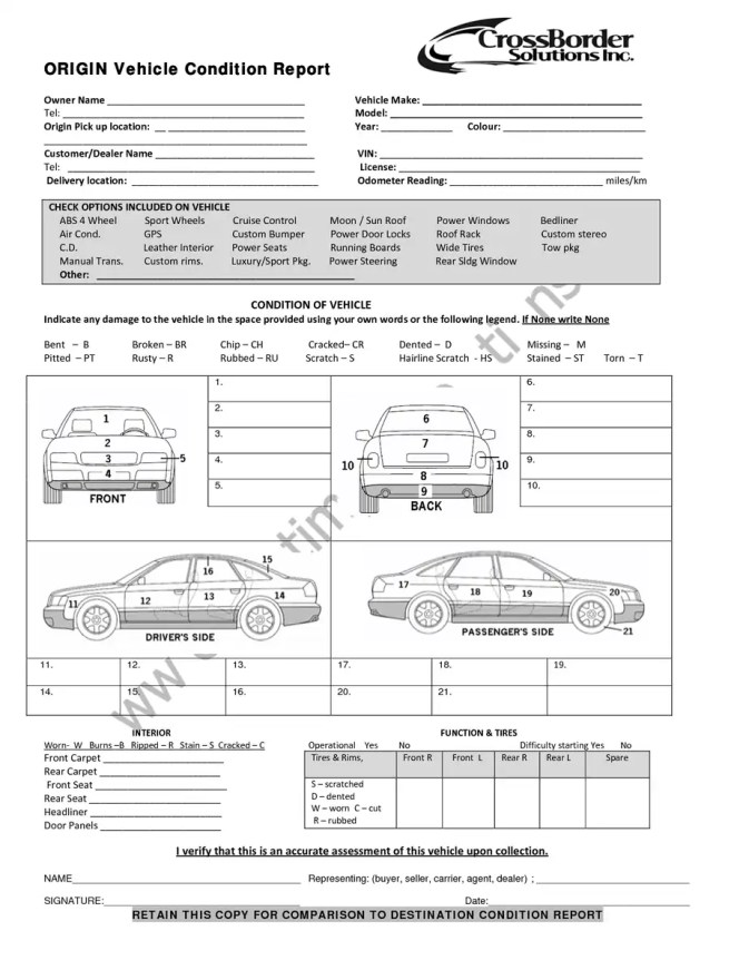 Vehicle Condition Report Template 80